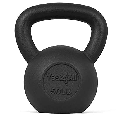 Yes4All KYN8 Solid Cast Iron Kettlebell Weights Set – Great for Full Body Workout and Strength Training – Kettlebell 50 lbs (Black) from Yes4All