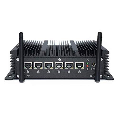Firewall Network Security Server VPN Router,Mikrotik Server Support Pfsense,Intel Celeron Fanless Mini PC,Support AES-NI,4G RAM 256G SSD,6 Intel I211/I210 LAN,RS232 COM,RJ45 LAN,USB,HD 4K,WiFi