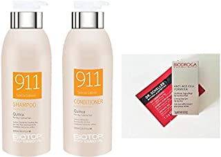 Biotop Professional 911 Quinoa Shampoo and Conditioner DUO 16.9 oz. each + 2 Free Samples