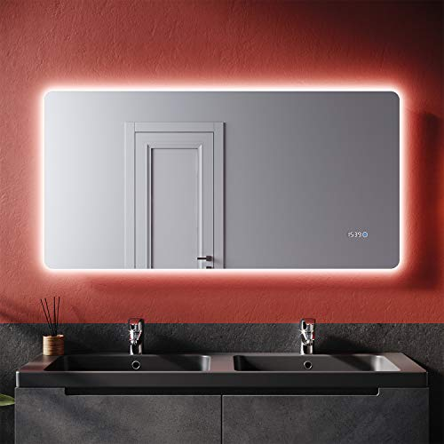 SONNI Badspiegel mit Beleuchtung 120×60 cm und Uhr Temperaturanzeige LED Badspiegel mit Touchschalter Badezimmer Wandspiegel