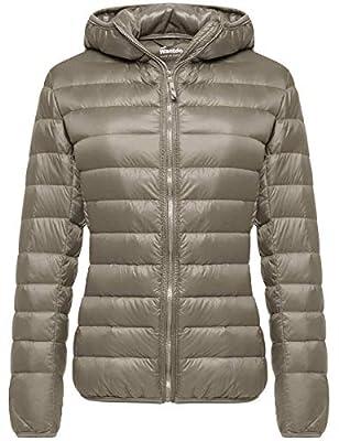 Wantdo Women's Light Weight Winter Packable Down Jacket Warm Coat Khaki Small