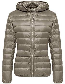 Wantdo Women s Light Weight Winter Packable Down Jacket Warm Coat Khaki Small