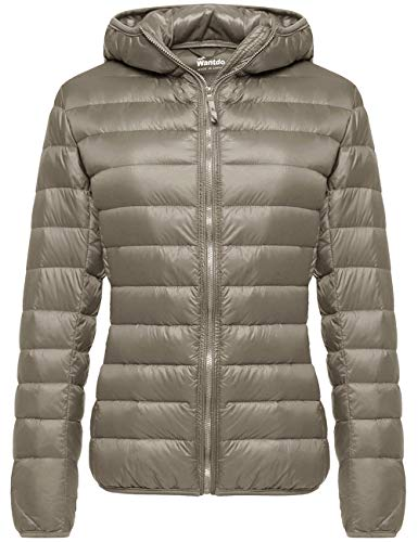 Wantdo Women's Short Winter Warm Down Jacket Lightweight Coat Khaki Medium