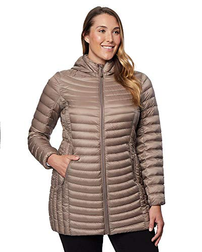 32 Degrees Women's Ultra-Light Packable Down 3/4 Long Puffer Jacket, Taupe, X-Small