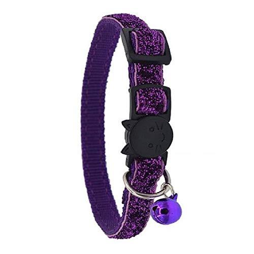 Hondenhalsband met bel van nylon, veilig en duurzaam, kleurrijk kattendesign, veiligheidsgesp, verstelbaar, lengte 21 – 34 cm, violet