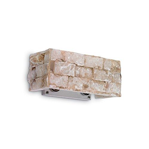 L'Aquila Design Arredamenti Ideal Lux Lampe à paroi Carrara AP2 Couleur albâtre et Monture en métal