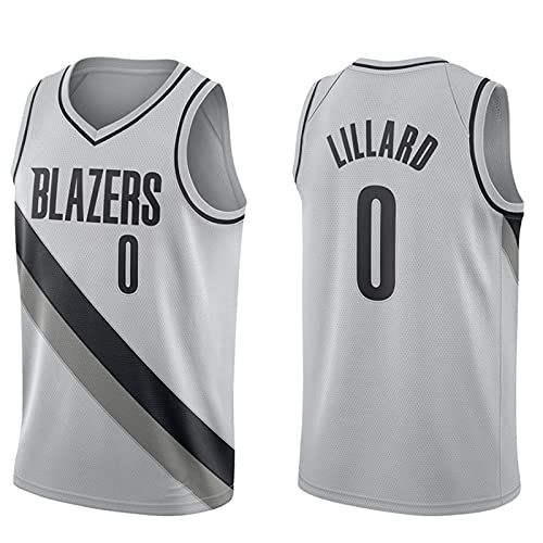 Edición de Bonificación Gris, Portland Trail Blazers # 0 Damian Lillard, Ropa Camisetas de baloncesto para hombres, clásico transpirable chaleco de secado rápido Confort Camiseta(Size:XXL,Color:A1)