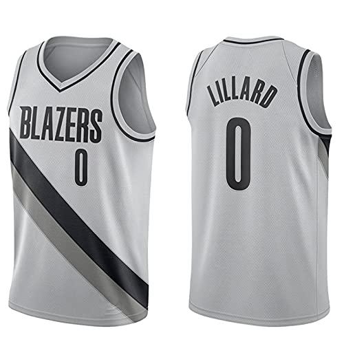 Edición de Bonificación Gris, Portland Trail Blazers # 0 Damian Lillard, Ropa Camisetas de baloncesto para hombres, clásico transpirable chaleco de secado rápido Confort Camiseta(Size:XL,Color:A1)