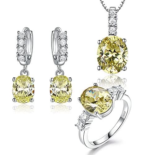 yuge 925 joyería de plata esterlina conjunto señoras moda oval manzana verde gemas pendientes anillo collar moda regalos ringsize5