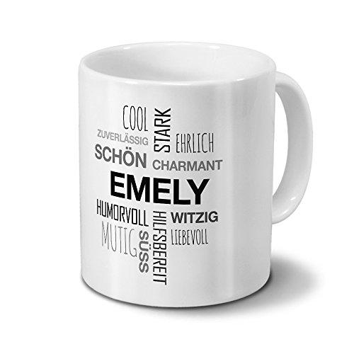 Tasse mit Namen Emely Positive Eigenschaften Tagcloud - Schwarz - Namenstasse, Kaffeebecher, Mug, Becher, Kaffeetasse
