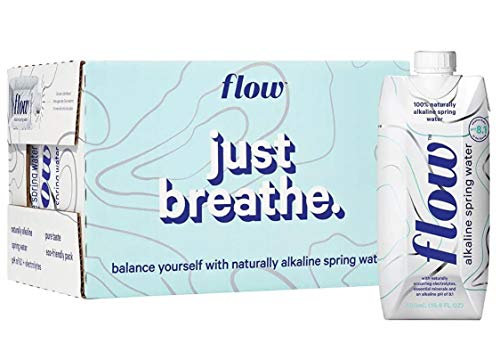 Flow Alkaline Spring Water, Organic Plain, 100% Natural Alkaline Water pH 8.1, Electrolytes + Essential Minerals, Eco-Friendly Pack, 100% Recyclable, BPA-Free, Non-GMO, 16.9oz (Pack of 12)