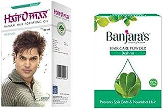 Hairomax Natural Hair Fortifying Oil (5 Bottles x 100ml-500ml),With Banjara's Brahmi Herbal Hair Pack Powder - 100Gm