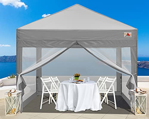 ABCCANOPY 10x10 Pop up Canopy Tent Commercial Tents with Mesh Walls Camping Screen & Mesh House Bonus Rolly Carry Bag and 4X Weight Bag, 30+Colors