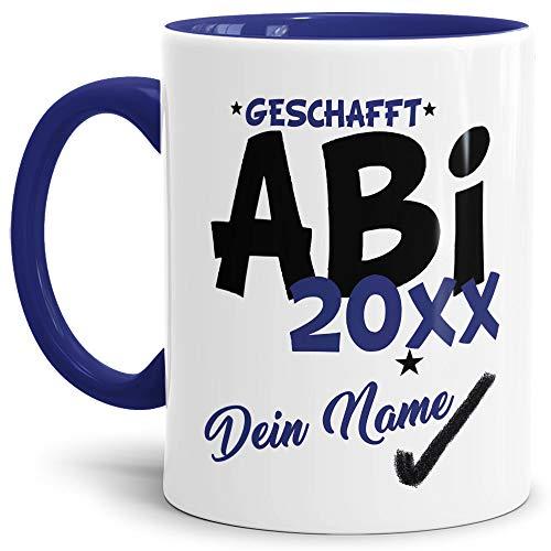 Tassendruck Abi-Tasse Geschafft Abi 20XX - Selbst gestalten mit Jahr und Name zum bestandenen Abitur/Schule/Lehrer/personalisierte Geschenk-Idee/Innen & Henkel Dunkelblau