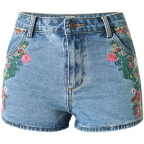 Corumly Pantalones Cortos de Mezclilla para Mujer Pantalones Cortos de Mezclilla Bordados en 3D de Estilo étnico con patrón de Colores Delgados de Cintura Alta Europeos y Americanos 36