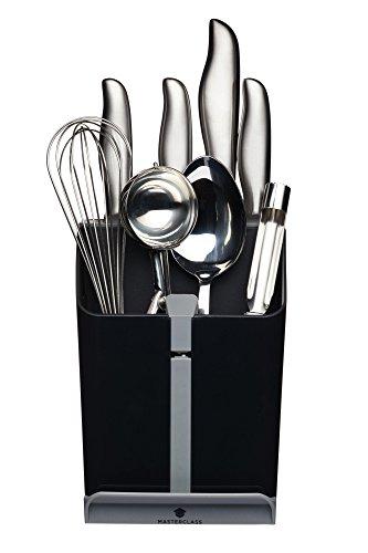 MasterClass - Porte-Ustensiles avec Bloc à Couteaux, Aiguiseur et Repose-Cuillère, 15,5 x 14,5 x 20,5 cm, Noir / Gris