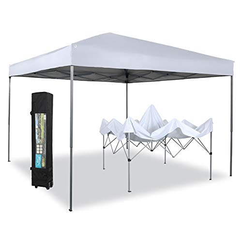 PHI VILLA 10 x 10ft Portable Pop Up Canopy Event Tent Party Tent, 100 Sq. Ft of Shade (White)