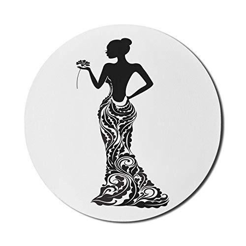 Alfombrilla de ratn de vestir para ordenadores, floral y ornamental, sirena, disfraz de novia, retrato, moo de pelo, redondo, antideslizante, de goma gruesa, moderna alfombrilla de ratn para juegos