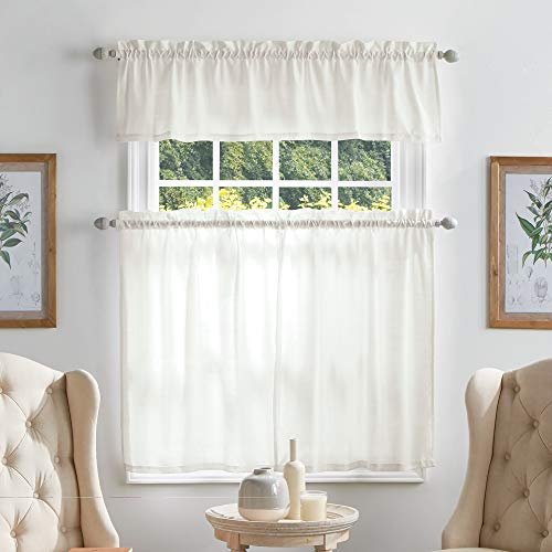 MARTHA STEWART Bedford Woven Plaid Window Curtain Valance and Tiers Set, White