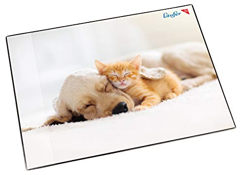 Läufer 46659 Schreibtischunterlage Hund und Katze, 53x40 cm, rutschfeste Schreibunterlage für Kinder, verschiedene Motive, mit transparenter Seitentasche