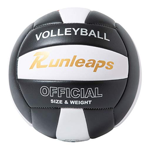 Runleaps Volleyball, Waterproof Indoor Outdoor Volleyball for Beach Game Gym Training, Official Size 5 (Black/White)