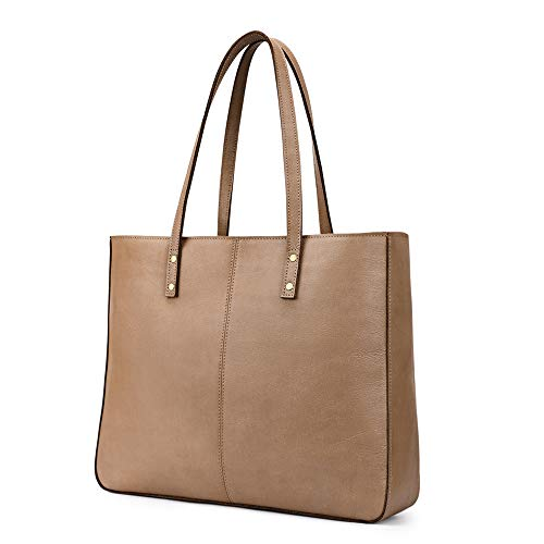 MATERIAL: KATTEE handbags is made of high quality waxed cowhide leather and fabric lining, antique brass hardware CLASSIC DESIGN: Open top magnetic snap closure; Interior with 1* Main compartment, 2* Interior zippered pockets, 2* Open wall pockets fo...
