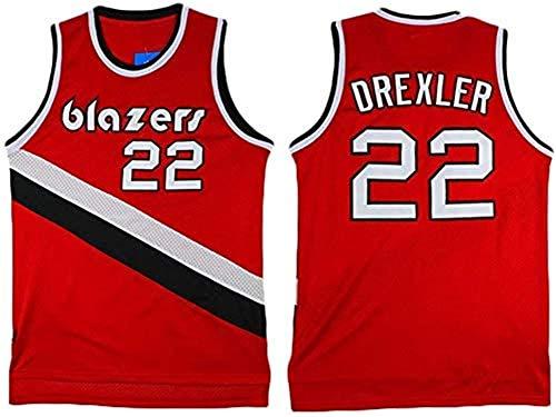 WSWZ Camisetas De Baloncesto para Hombre - Portland Trail Blazers 22# Camisetas De Clyde Drexler - Camiseta Unisex Cómoda De Baloncesto con Chaleco Deportivo,L(175~180CM/75~85KG)