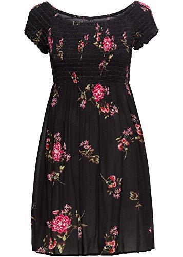 bonprix Ansprechendes Carmen-Kleid mit gesmoktem Oberteil schwarz geblümt 54 für Damen