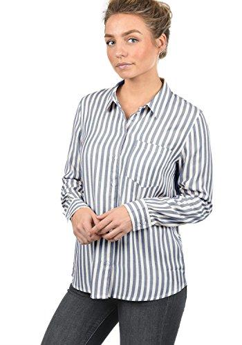 ONLY Mia Damen Lange Bluse Hemdbluse Langarm Mit Streifen-Muster Loose Fit, Größe:36, Farbe:Sky Captain