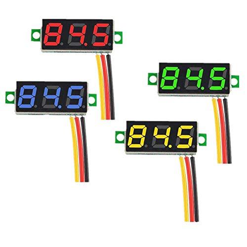 Tianqin 4 Stück 0,28 Zoll Mini Digital Voltmeter LED-Anzeige, Messbereich DC 0-100V DREI Drähte Spannungsprüfer, 4 Farben: Rot/Gelb/Grün/Blau