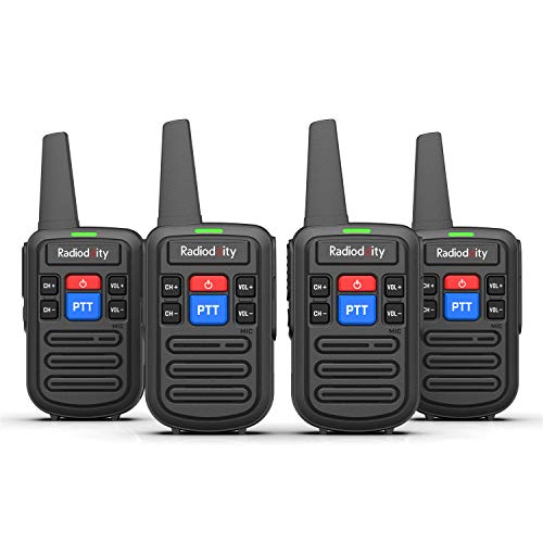 RRadioddity PR-T5 Talkie Walkie Rechargeable 1500mAh PMR446 Talky Walky Professionnelle Longue Portée avec 16 Canaux (4 pcs)