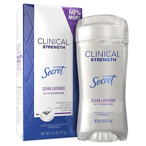 Secret Antiperspirant Clinical Strength Deodorant for Women, Clear Gel, Clean Lavender, 2.6 oz