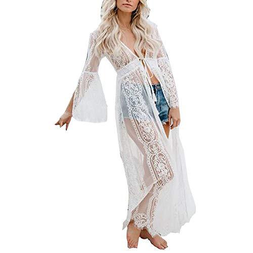 Vestido de Bikini Bordado para Mujer Transparente Ropa de Baño Playa con la Manga Suelta de Moda Traje de Baño Verano para Bikini Camisolas Larga etc (Blanco, XL)