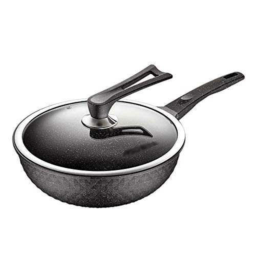 Wok Wok E Stir Fry Pans Domestica Pietra Medica Non Grassa Fumi Wok Leggero all-in-One Wok (Color : Maifan Stone, Size : 30cm)