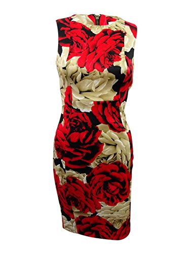 Calvin Klein Women's Petite Floral-Print Scuba Sheath Dress (12P, Red Multi)