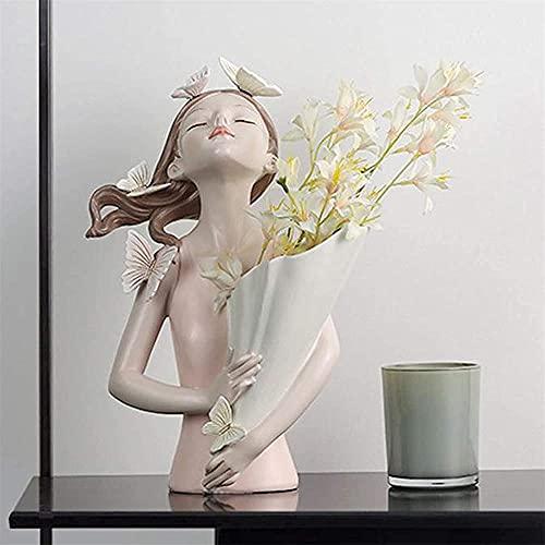 Mariposa niña sosteniendo jarrón estatua mariposa niña jarrón escultura mariposa niña resina escultura carácter modelo creativo resina chica jarrón escultura mariposa jarrón de niña para flores-V
