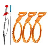 Omont Drain Clog Remover, 4 Pack 20 Inch Drain Hair Clog Tool + 1 Pack 27.5 inch...
