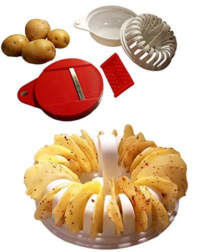 Bayli Chips Maker | Mikrowellen Kartoffelchips | Chipsmaschine für die Mikrowelle | Kartoffel spiralschneider | Chips ohne Öl selber Machen | Chip Slicer - Fettfreie | selbstgemachte Kartoffelchips