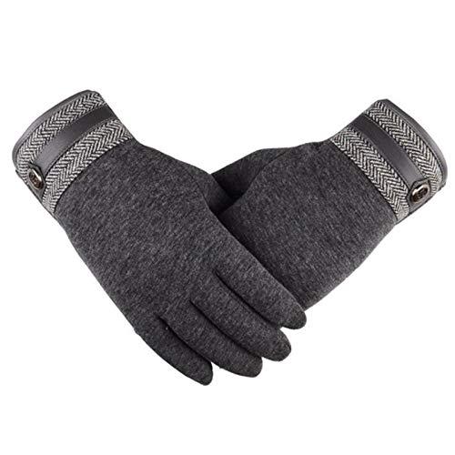 Guantes de invierno impermeable Velvet Cashmere Touch Screen Screen Gloves Hombres a prueba de viento Finger Completo Guantes cálidos Engrasada Corriendo Ciclismo Conducción Mittens ( Color : Gray )