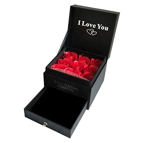 Gift Rose sieradendoos Ruby Red Enchanted Realm Rose met roos broche, eeuwige roos bloem in ring box, handgemaakte geconserveerde roze, cadeau voor haar op verjaardag Valentijnsdag