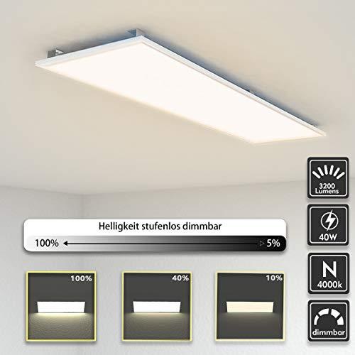 LED Panel Deckenleuchte dimmbar 120x30cm Neutralweiss 4000K Ultraslim 40W inkl. Trafo und Befestigungsmaterial für Büroräume, Flure, Küche, Badezimmer, Keller, Verkaufsräume