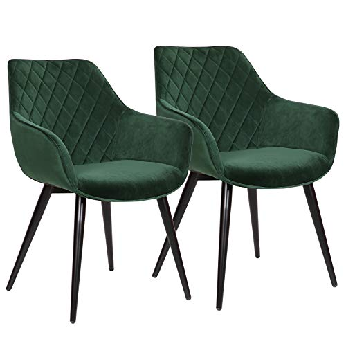 WOLTU Esszimmerstühle BH153gn-2 2er Set Küchenstühle Wohnzimmerstuhl Polsterstuhl Design Stuhl mit Armlehne Samt Gestell aus Stahl Grün