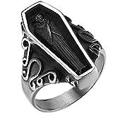 Stainless Steel Retro Vintage Vampire Coffin Cocktail Party Biker Halloween Ring (Silver Black, 10)