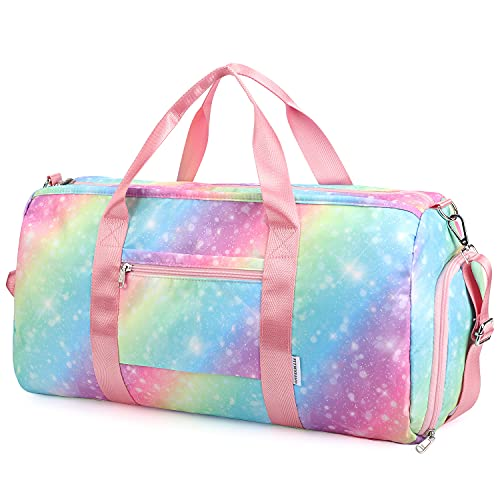 FITMYFAVO Duffel Bag for Girls Travel Weekender Bag Overnight Dance Duffle Bag with Shoes Compartment Wet Pocket (X-Large)