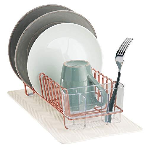 mDesign Abtropfgestell aus Metall – mit Besteckkorb aus Kunststoff und kleiner Abtropfmatte aus Silikon – Besteck, Gläser und Tassen trocknen im Handumdrehen – kupferfarben und beige