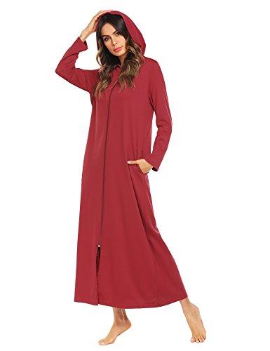 ADOME Damen Lang Morgenmantel mit Kapuze Bademantel Reißverschluß Saunamantel Flauschig Weiche Gemütliche Robe