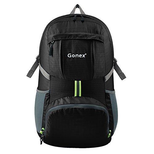Gonex 35L Lightweight Packable Backpack Handy Foldable Shoulder Bag Daypack (Black)