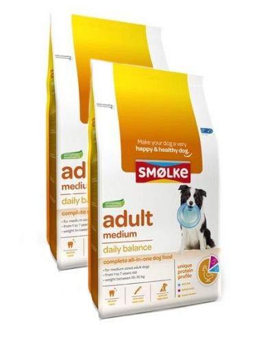 2x 12 KG Smolke adult medium brokken hondenvoer