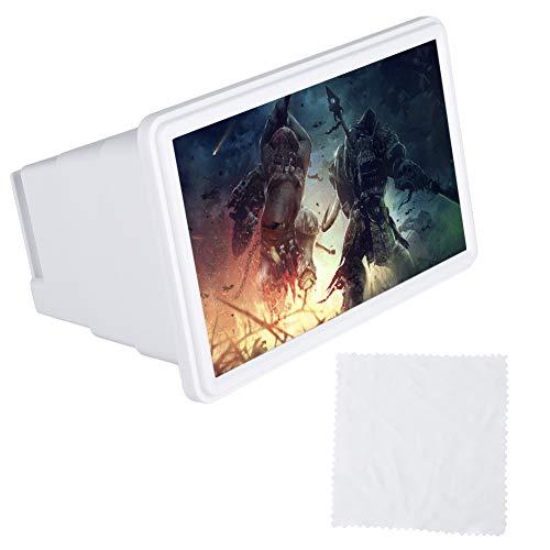 Wendry Soporte para Lupa de Pantalla de Teléfono, Soporte para Teléfono Portátil de Diseño Plegable, Lupa para Pantalla de Teléfono Móvil, Lupa de Aumento Óptico para Teléfono(Blanco)