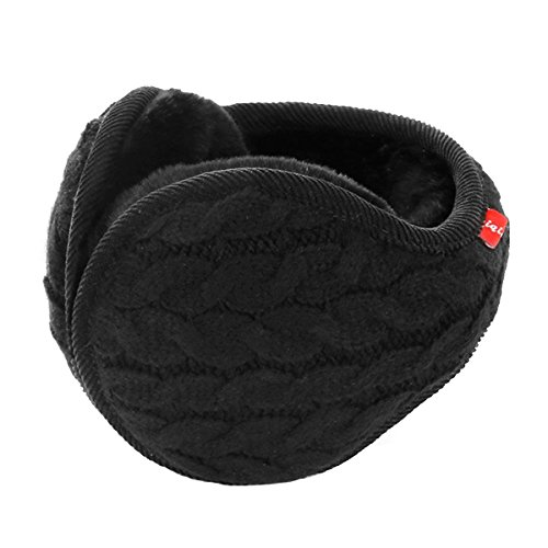 Surblue Unisex Warm Knit Cashmere Winter Pure Color Earmuffs with Fur Earwarmer, Adjustable Wrap,Black,Large